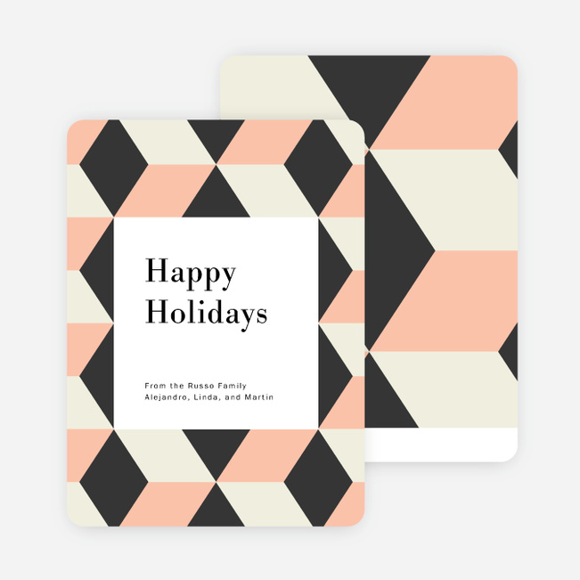 Tile Patterns Holiday Cards - Pink