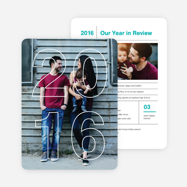 2016 Infographic Holiday Photo Cards - Blue