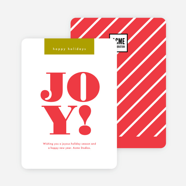 Bold & Stripes Corporate Holiday Cards - Red