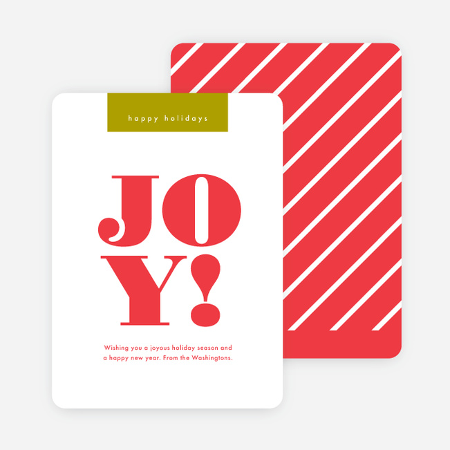 Candy Cane Joy Christmas Cards - Red