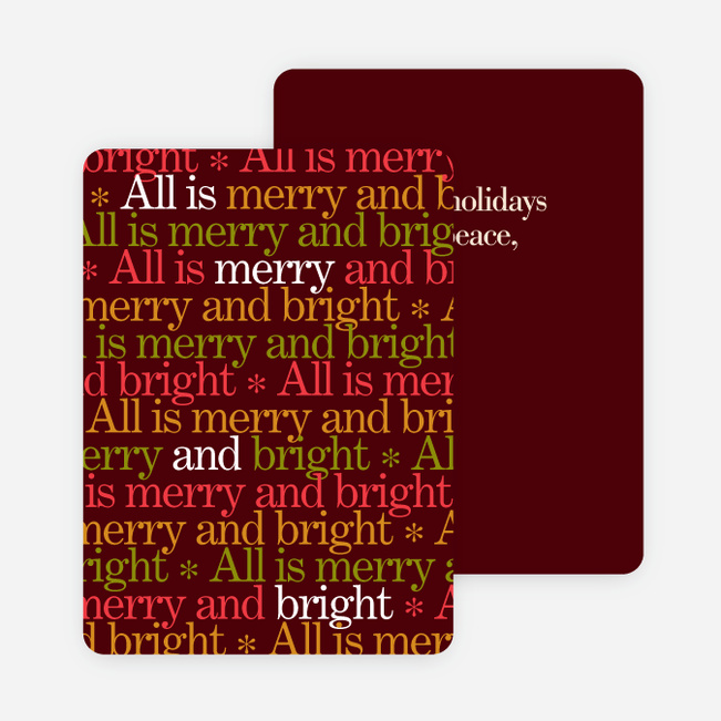 Festive Words Holiday Cards - Red
