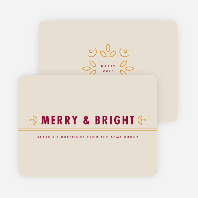 Floral Accents Corporate New Year Cards - Red