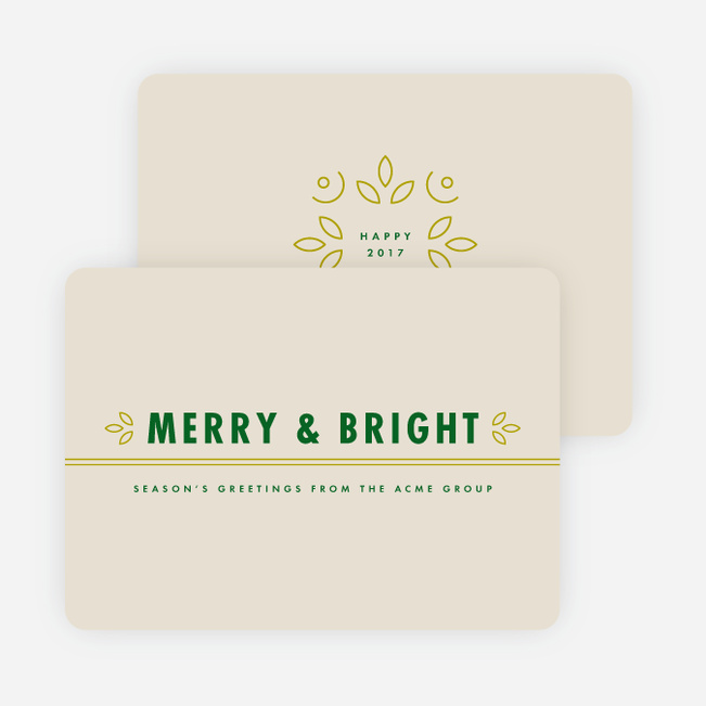 Floral Accents Corporate New Year Cards - Green