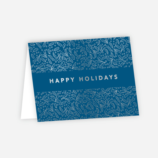Foil Band of Leaves Corporate Holiday Cards - Blue