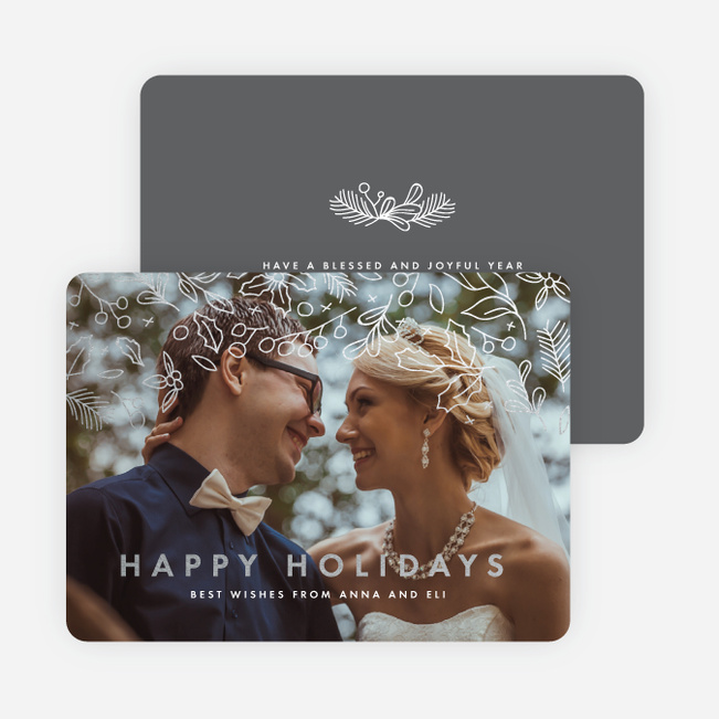 Foil Branch Out Holiday Cards - Gray