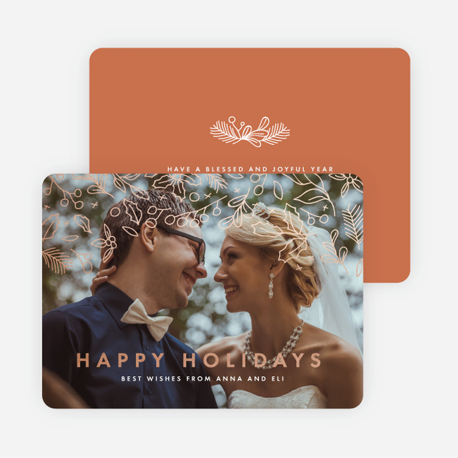 Foil Branch Out Holiday Cards - Orange