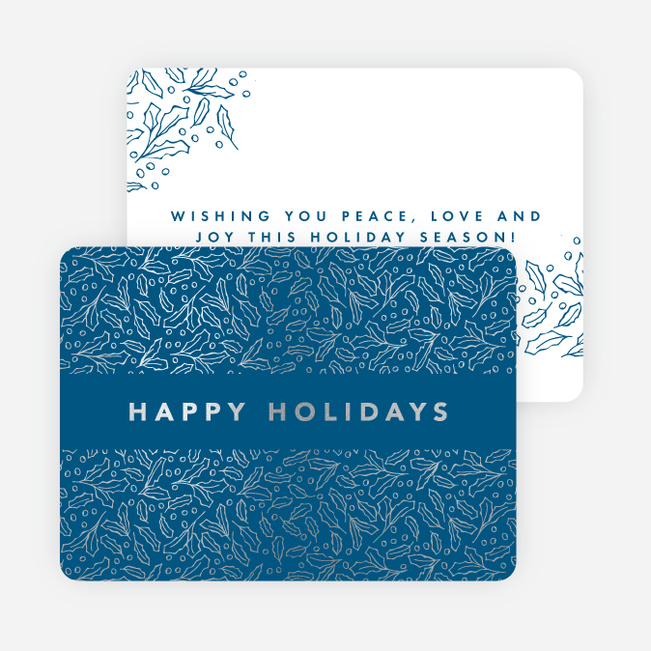 Foil Leaves All Around Holiday Cards - Blue
