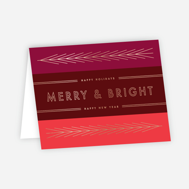 Foil Obtuse Angles Corporate Holiday Cards - Red