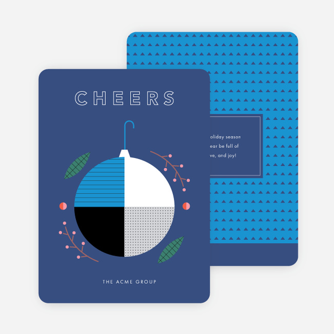 Geometric Ornament Corporate Holiday Cards - Blue