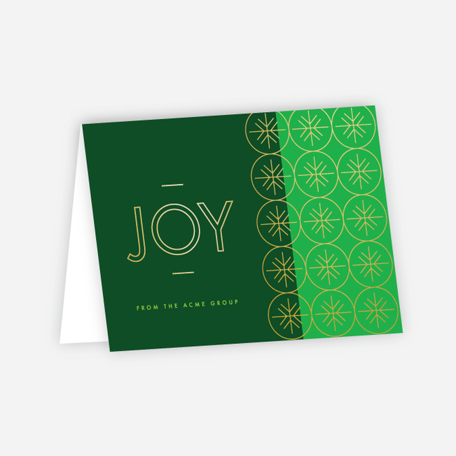 Geometric Snowflakes Corporate Holiday Cards - Green