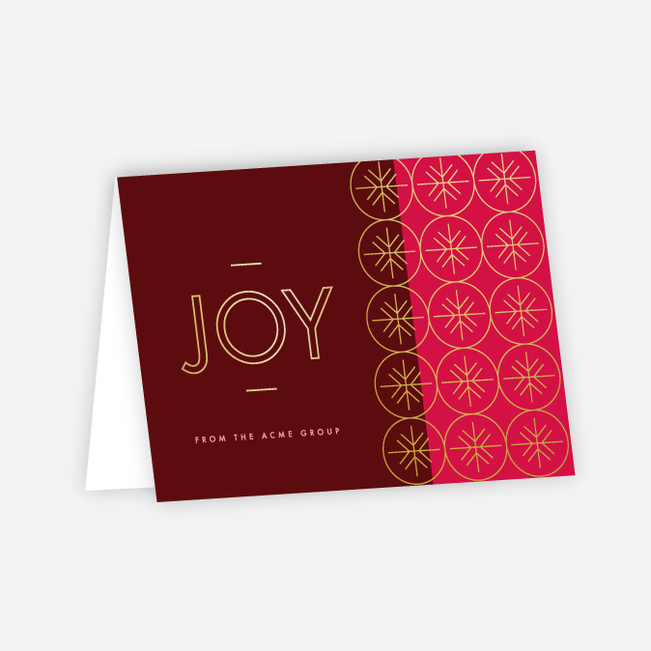 Geometric Snowflakes Corporate Holiday Cards - Red