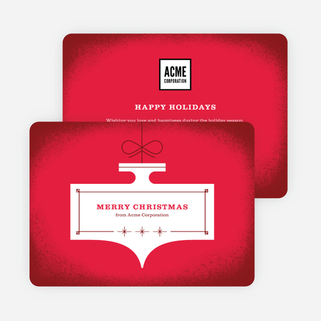 Illustrative Ornament Corporate Holiday Cards - Red