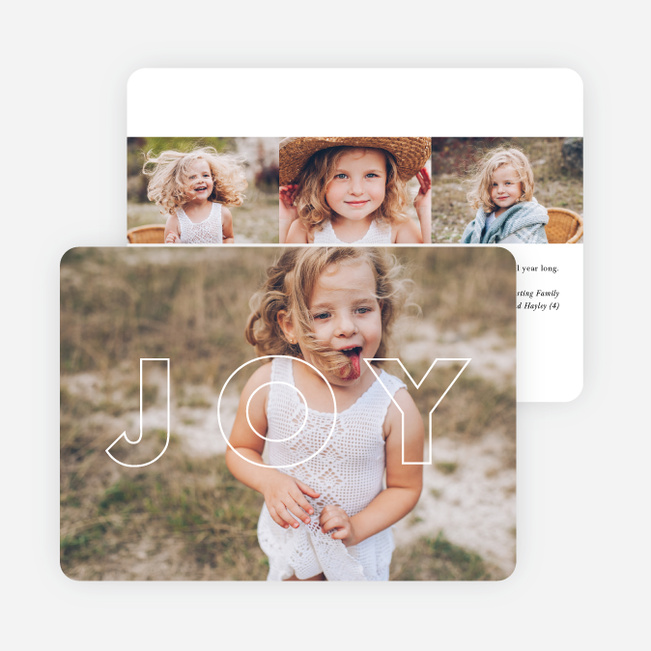 Joy Outline Holiday Photo Cards - Black