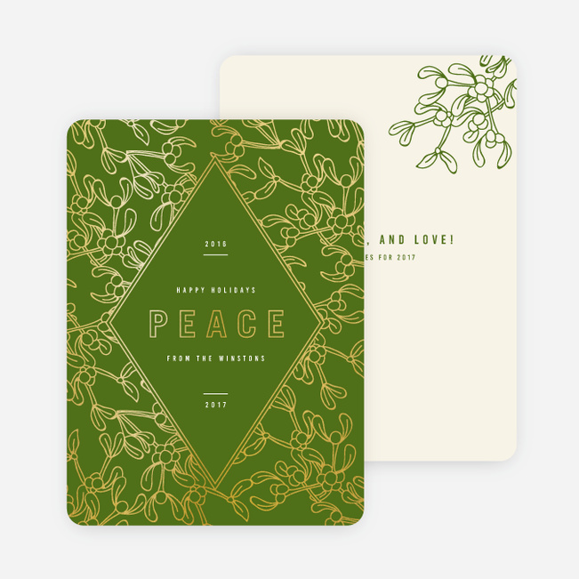 Foil Holly Accents Holiday Cards - Green