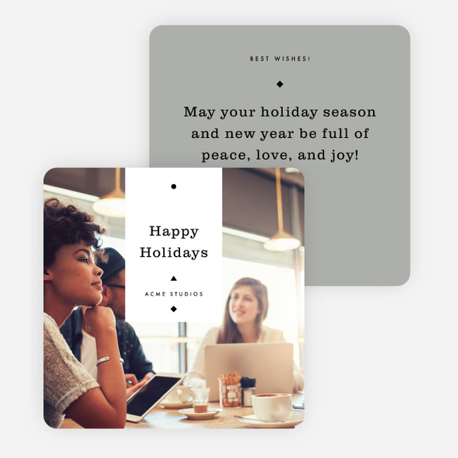 Artisanal Feel Corporate Holiday Cards - Gray