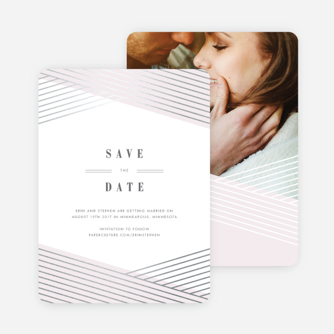 Diagonal Chic Save The Dates - Pink