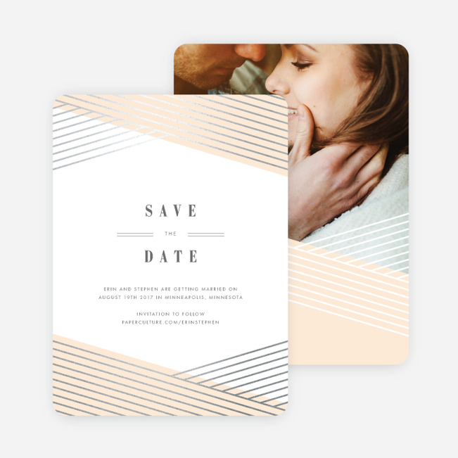 Diagonal Chic Save The Dates - Orange