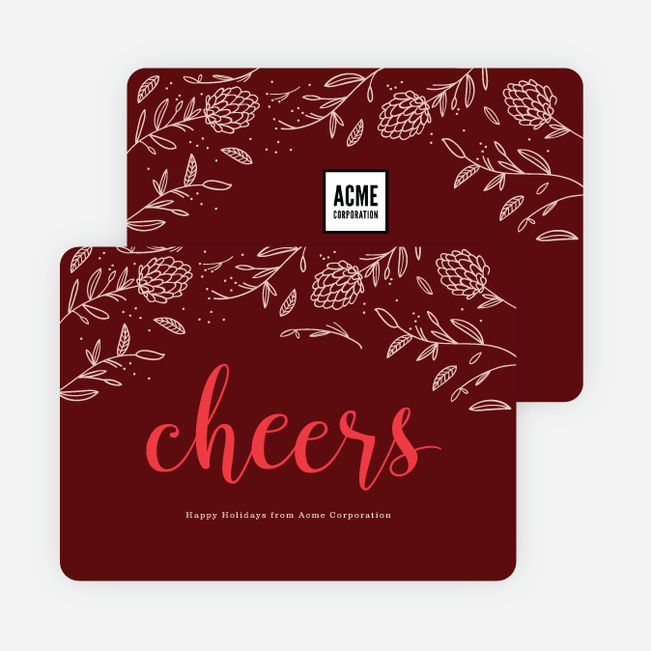 Festive Details Corporate Holiday Cards - Red