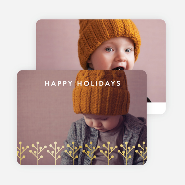 Foil Branches Holiday Cards - Yellow
