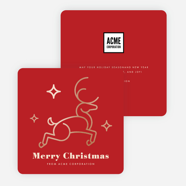 Foil Festive Deer Corporate Holiday Cards - Red