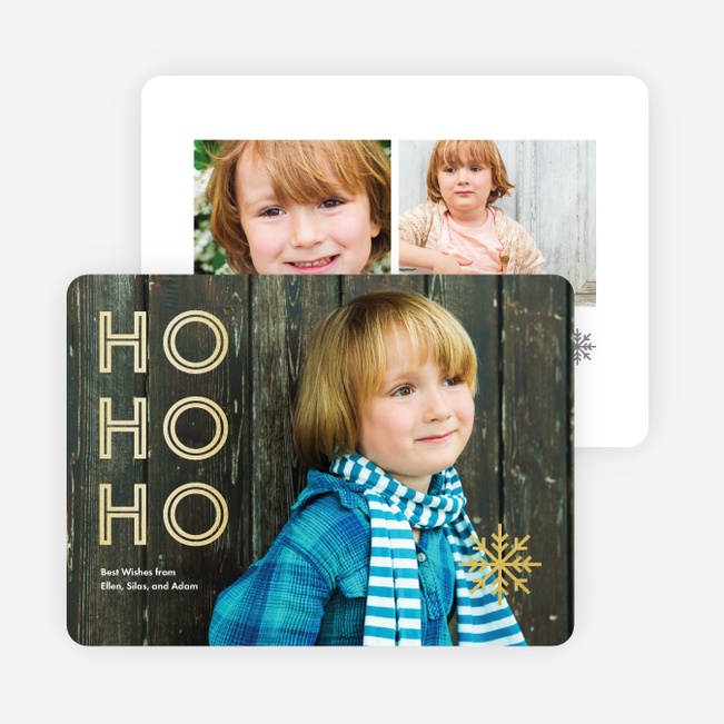 Foil Ho, Ho, Ho Christmas Cards - Yellow