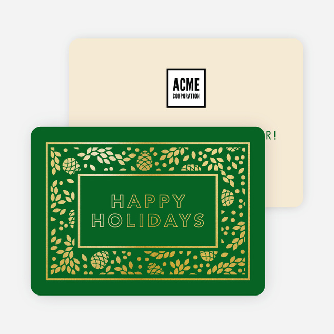 Foil Holiday Decor Corporate Holiday Cards - Green