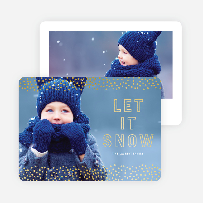 Foil Let It Snow Holiday Cards - Yellow