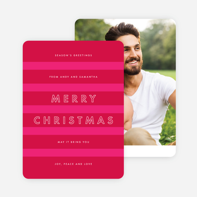 Happy Stripes Holiday Cards - Pink