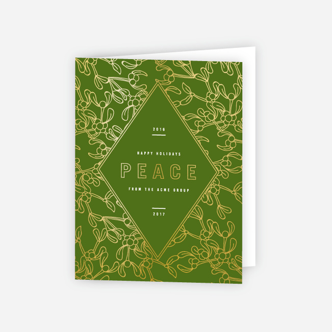 Modern Foil Diamond Corporate Holiday Cards - Green