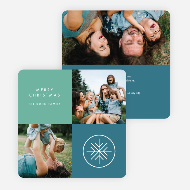 Modern Snowflake Holiday Cards - Blue