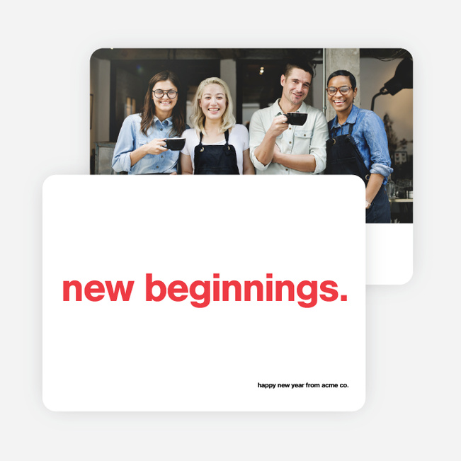 New Beginnings Corporate Photo Holiday Cards - Red