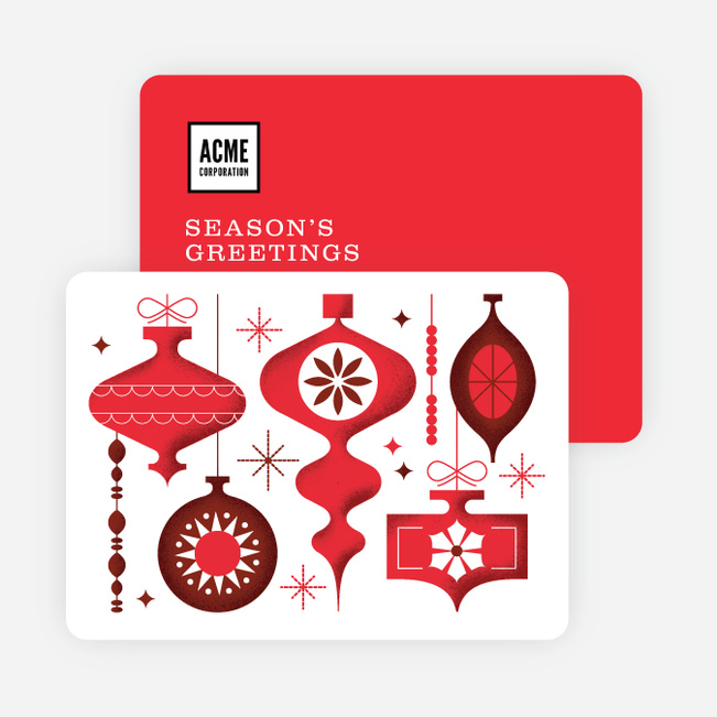 Ornaments Galore Corporate Holiday Cards - Red