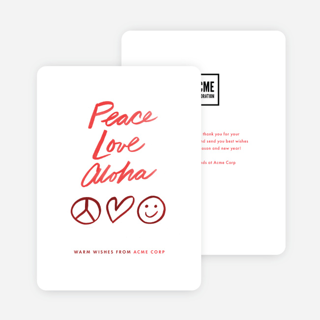 Peace Symbol Corporate Holiday Cards - Red