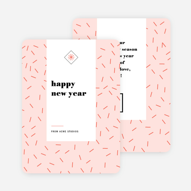 Short Lines Corporate Holiday Cards - Pink