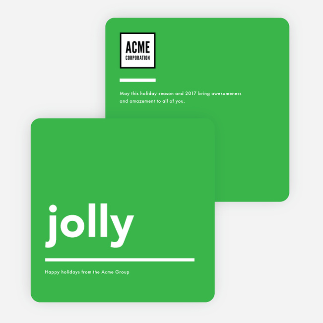 Simply Happy Corporate Holiday Cards - Green