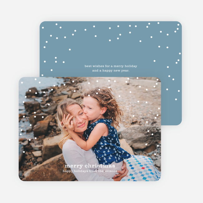 Snow Frame Photo Holiday Cards - Blue