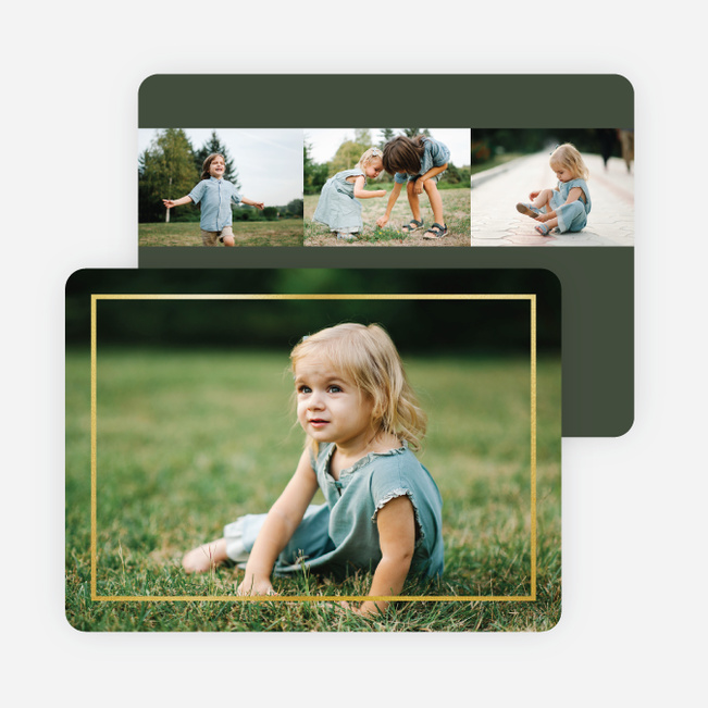Thin Foil Border Photo Holiday Cards - Green