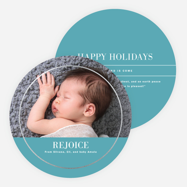 Foil Circle of Love Holiday Cards - Blue
