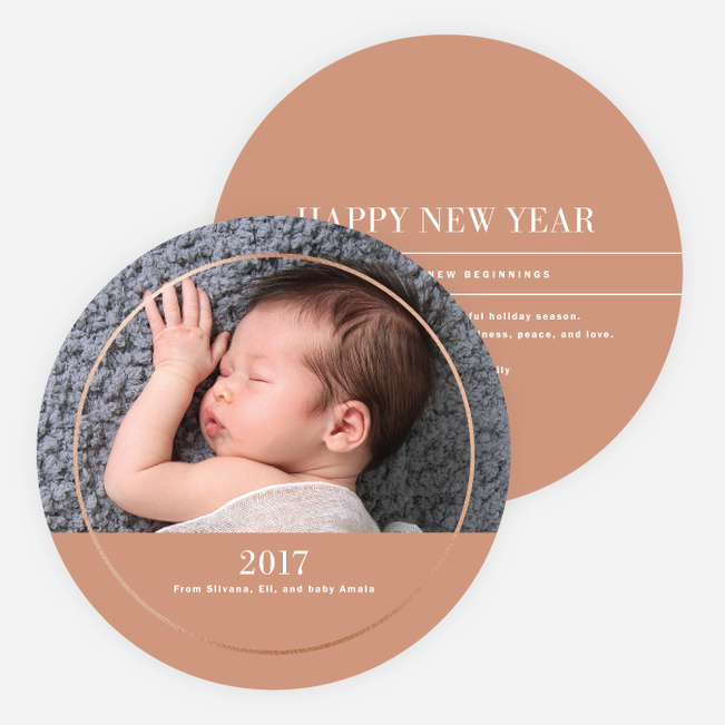 Foil Circle of Love Holiday Cards - Beige