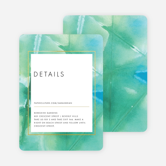 Infused Watercolors Wedding Direction Cards - Blue