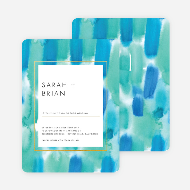 Infused Watercolors Wedding Invitations - Blue