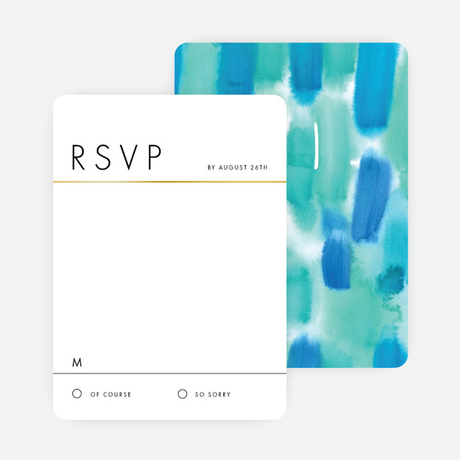 Infused Watercolors Wedding Response Cards - Blue