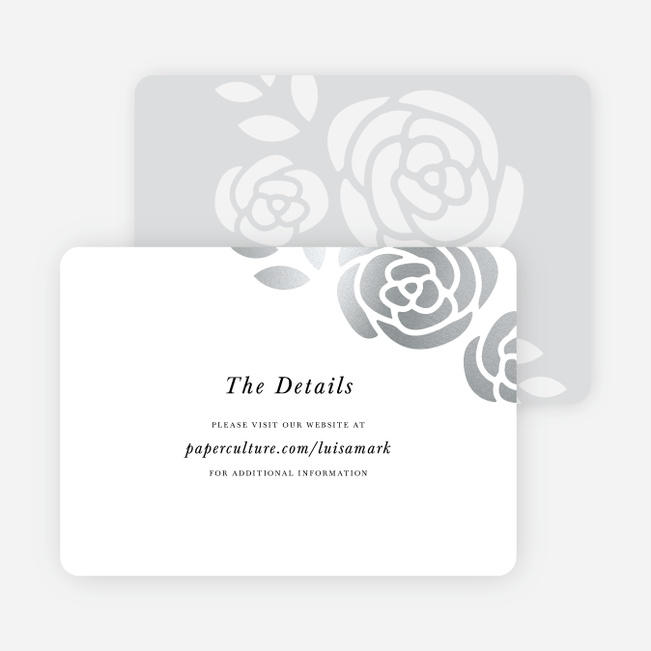Coming Up Roses Wedding Direction Cards - Black