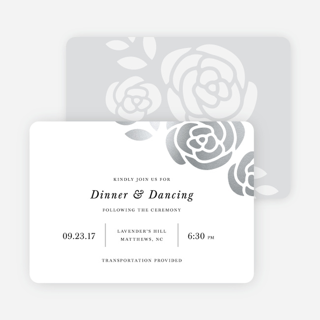 Coming Up Roses Wedding Reception Cards - Black