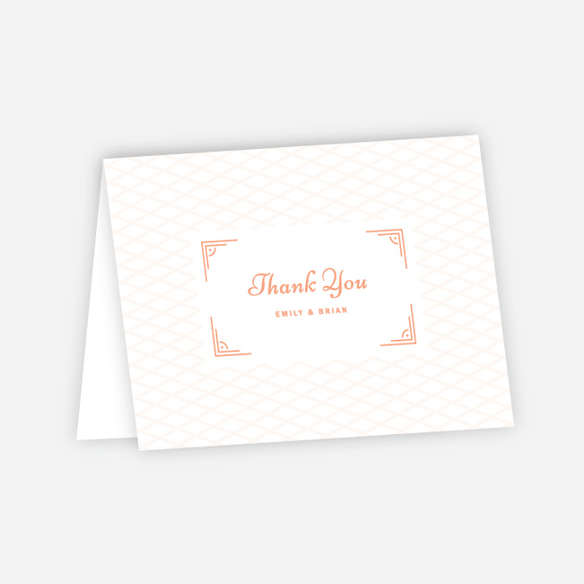 Crossing Paths Wedding Thank You Cards - Orange