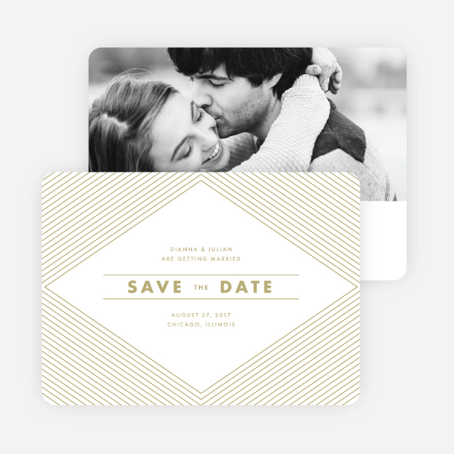 Diamond Chic Wedding Save the Date Cards - Beige