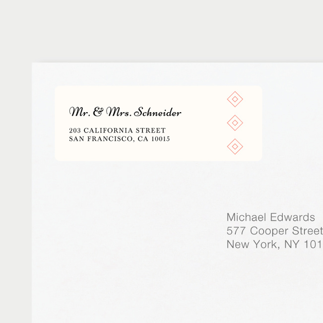 Diamonds in the Rough Wedding Return Address Labels - Orange