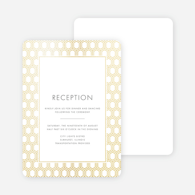 Hexagon Bliss Wedding Reception Cards - White