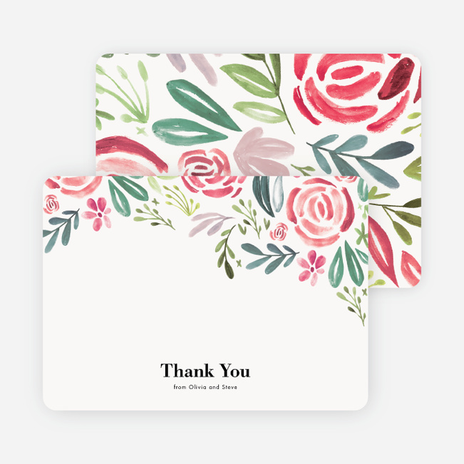 Strokes of Floral Wedding Thank You Cards - Red