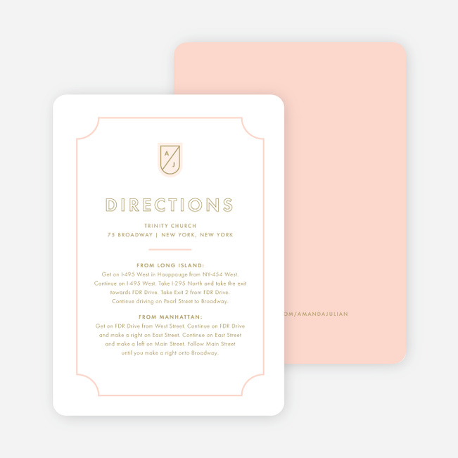 Tomorrow's Crest Wedding Information Cards - Pink